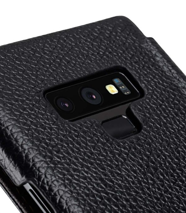 Melkco Book Type Series Lai Chee Pattern Premium Leather Face Cover Book Type Case for Samsung Galaxy Note 9 - ( Black LC )