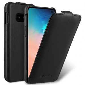 Melkco Jacka Series Premium Leather Jacka Type Case for Samsung Galaxy S10e - ( Black )