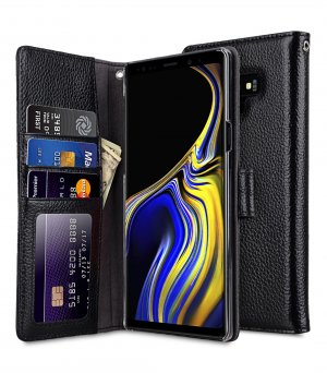 Melkco Lai Chee Pattern Premium Leather Wallet Book ID Slot Type Case for Samsung Galaxy Note 9 - ( Black LC )