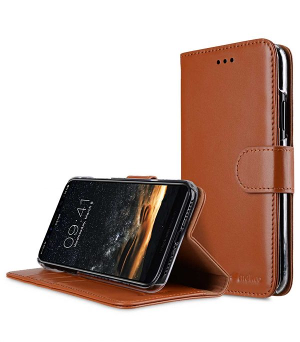 Melkco Premium Leather Case for Apple iPhone X - Wallet Book Clear Type Stand (Brown CH)
