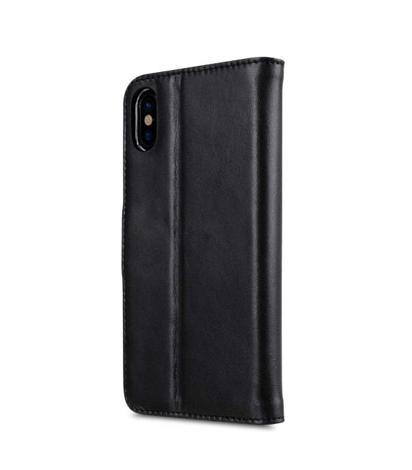 Melkco Premium Leather Case for Apple iPhone X - Wallet Book Clear Type Stand (Vintage Black)