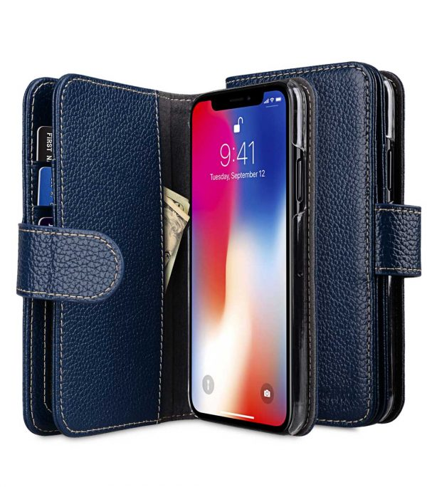 Melkco Premium Leather Case for Apple iPhone X - Wallet Plus Book Type (Dark Blue LC)