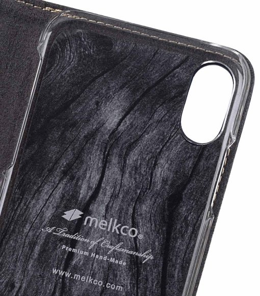 Melkco Premium Leather Case for Apple iPhone X - Wallet Plus Book Type (Dark Blue LC)