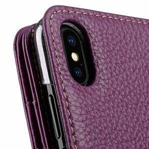 Melkco Premium Leather Case for Apple iPhone X - Wallet Plus Book Type (Purple LC)