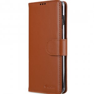 Melkco Wallet Book Series Crazy Horse Premium Leather Wallet Book Clear Type Stand Case for Samsung Galaxy S10+ - ( Brown CH )