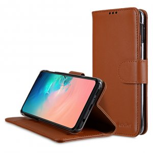 Melkco Wallet Book Series Crazy Horse Premium Leather Wallet Book Clear Type Stand Case for Samsung Galaxy S10e - ( Brown CH )