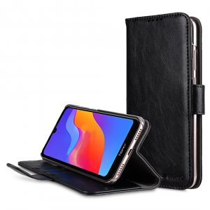 Melkco Wallet Book Series Crazy Horse PU Leather Wallet Book Clear Type Stand Case for Huawei Honor Play 8A / Honor 8A - ( Black CH )