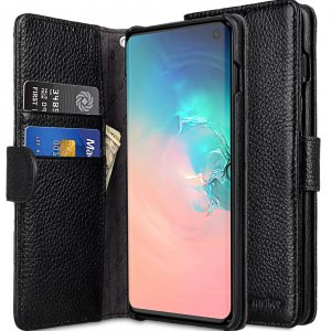 Melkco Wallet Book Series Lai Chee Pattern Premium Leather Wallet Book Type Case for Samsung Galaxy S10 - ( Black LC )