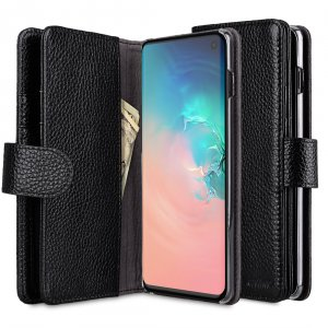 Melkco Wallet Book Series Lai Chee Pattern Premium Leather Wallet Plus Book Type Case for Samsung Galaxy S10 - ( Black LC )