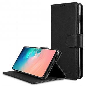 Melkco Wallet Book Series Premium Leather Wallet Book Clear Type Stand Case for Samsung Galaxy S10 - ( Black )