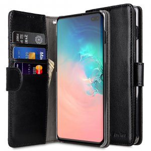 Melkco Wallet Book Series PU Leather Wallet Book Clear Type Case for Samsung Galaxy S10+ - ( Black )