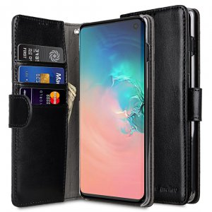 Melkco Wallet Book Series PU Leather Wallet Book Clear Type Case for Samsung Galaxy S10 - ( Black )