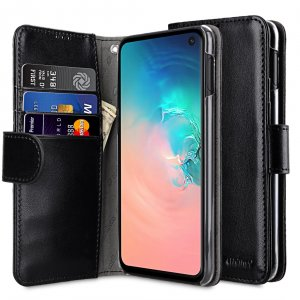Melkco Wallet Book Series PU Leather Wallet Book Clear Type Case for Samsung Galaxy S10e - ( Black )