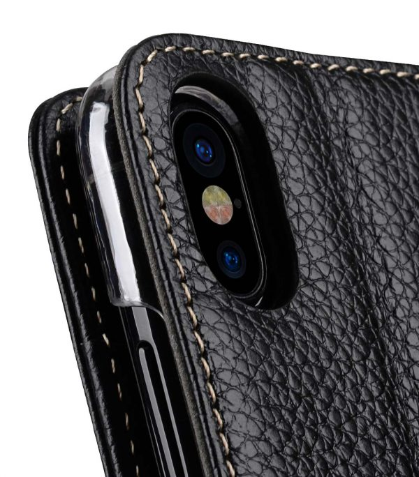 Premium Leather Case for Apple iPhone X - Wallet Book Clear Type Stand (Black LC)