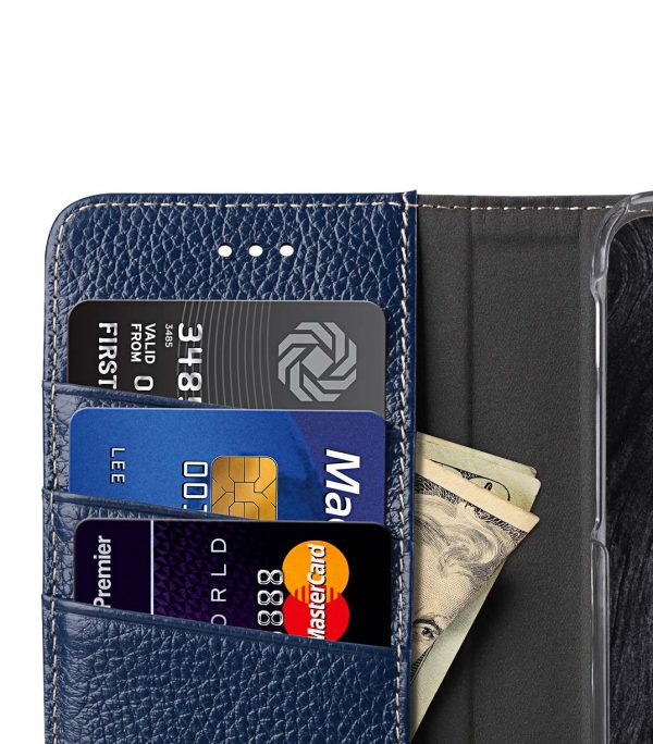 Premium Leather Case for Apple iPhone X - Wallet Book Clear Type Stand (Dark Blue LC)