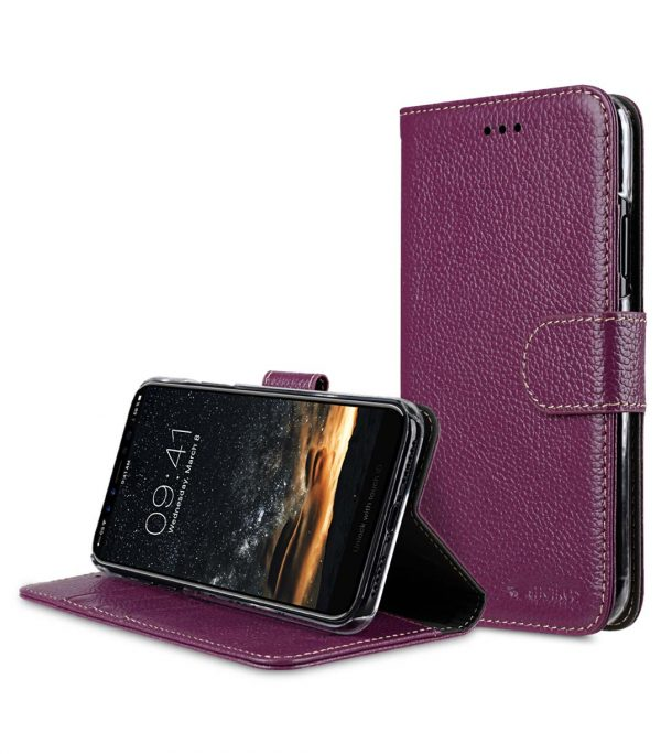 Premium Leather Case for Apple iPhone X - Wallet Book Clear Type Stand (Purple LC)