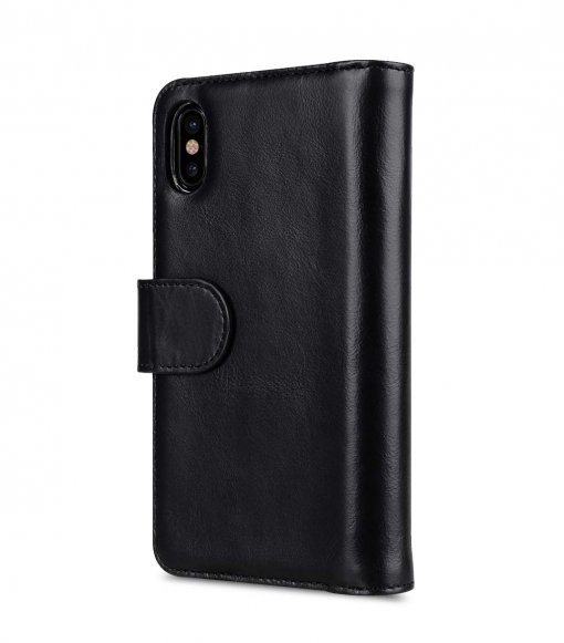 Premium Leather Case for Apple iPhone X - Wallet Plus Book Type(Black WF)