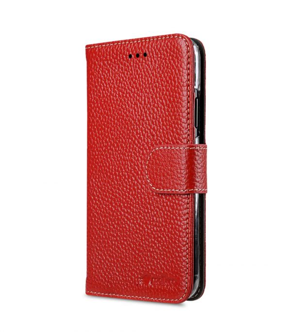 Premium Leather Case for Apple iPhone X - Wallet Book Clear Type Stand (Red LC)