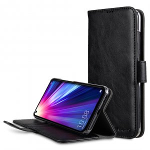 Melkco Wallet Book Series Crazy Horse PU Leather Wallet Book Clear Type Stand Case for Huawei Honor View 20 - ( Black CH )