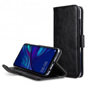 Melkco Wallet Book Series Crazy Horse PU Leather Wallet Book Clear Type Stand Case for Huawei P Smart (2019) - ( Black CH )
