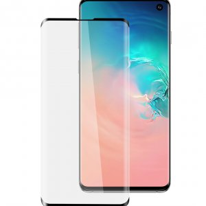 Melkco 3D Curvy Glass Screen Protector for Samsung Galaxy S10 - ( Black Frame )