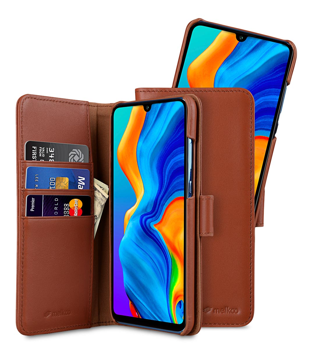 Melkco Alphard Series Premium Leather Alphard Type Case for Huawei P30 Lite - ( Orange Brown )
