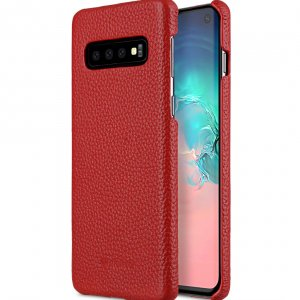 Melkco Back Snap Series Lai Chee Pattern Premium Leather Snap Cover Case for Samsung Galaxy S10+ - ( Red LC )