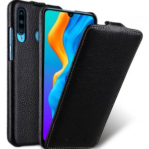 Melkco Jacka Series Lai Chee Pattern Premium Leather Jacka Type Case for Huawei P30 Lite - ( Black LC )