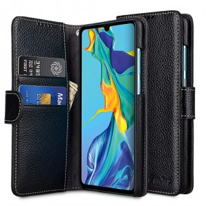 Melkco Wallet Book Series Lai Chee Pattern Premium Leather Wallet Book Type Case for Huawei P30 - ( Black LC )
