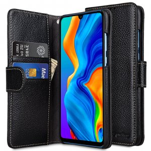 Melkco Wallet Book Series Lai Chee Pattern Premium Leather Wallet Book Type Case for Huawei P30 Lite - ( Black LC )