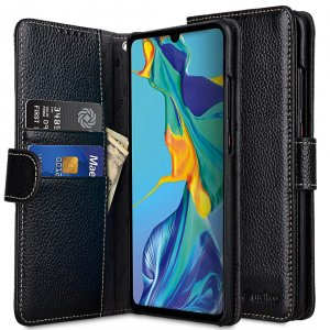 Melkco Wallet Book Series Lai Chee Pattern Premium Leather Wallet Book Type Case for Huawei P30 Pro - ( Black LC )