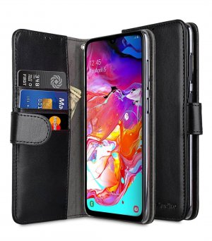 Melkco Wallet Book Series PU Leather Wallet Book Clear Type Case for Samsung Galaxy A70 - ( Black )