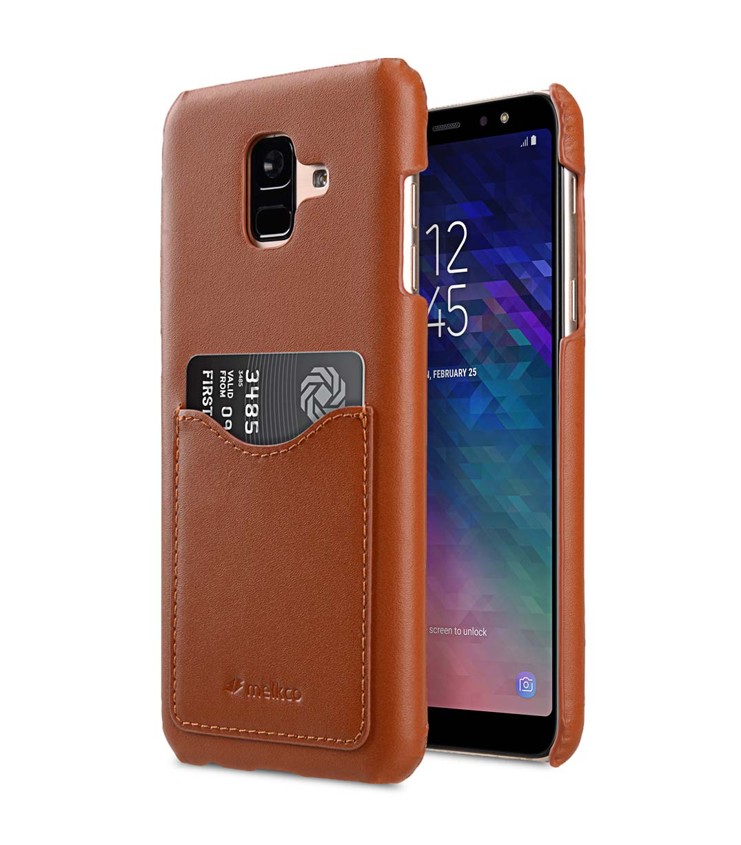 quality design 41950 8d24f Premium Leather Card Slot Back Cover Case for Samsung Galaxy A6 (2018)