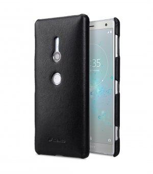 Premium Leather Snap Cover Case for Sony Xperia XZ2 - (Black)
