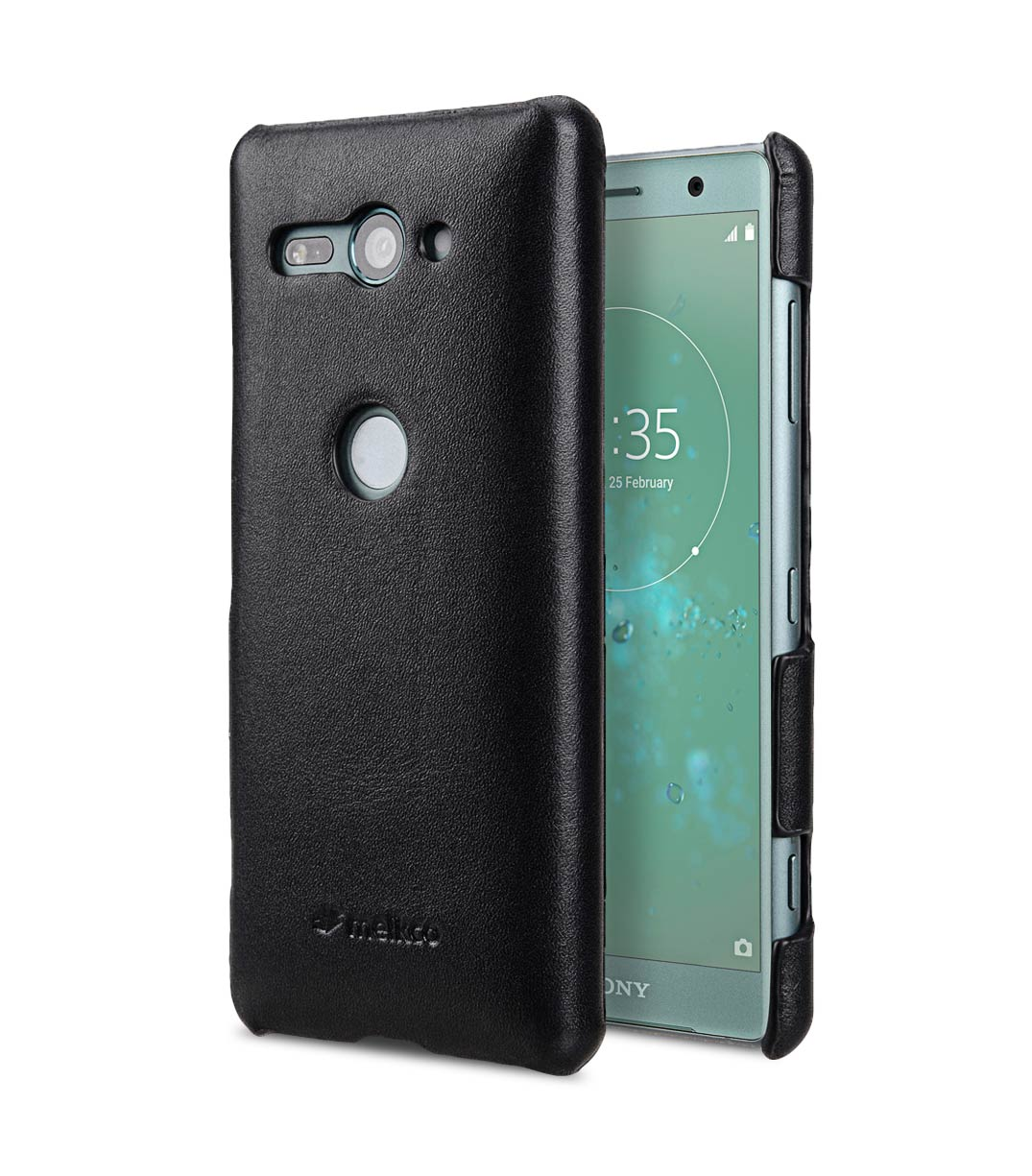 save off 226e3 a8be7 Premium Leather Snap Cover Case for Sony Xperia XZ2 Compact - (Black)