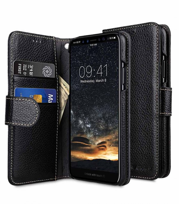 newest 8f508 6812a Premium Leather Case for Apple iPhone X / XS - Wallet Book Type