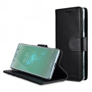 Premium Leather Case for Sony Xperia XZ2 Compact - Wallet Book Clear Type Stand