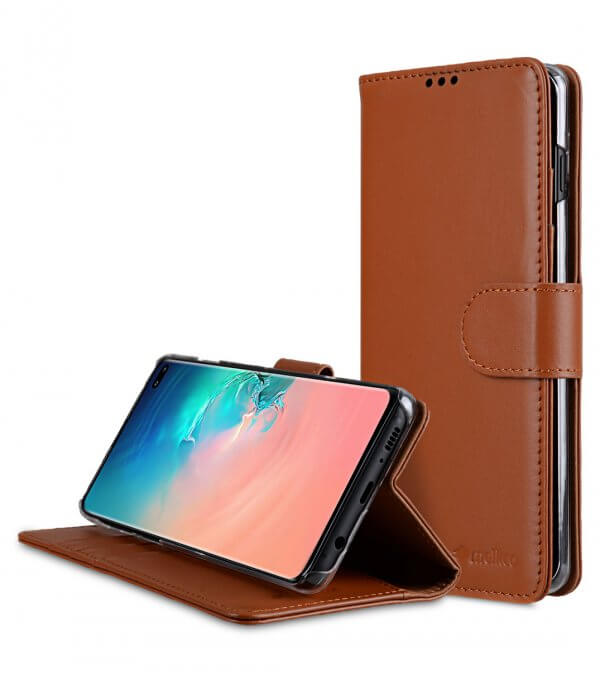 Premium Leather Wallet Book Clear Type Stand Case for Samsung Galaxy S10+
