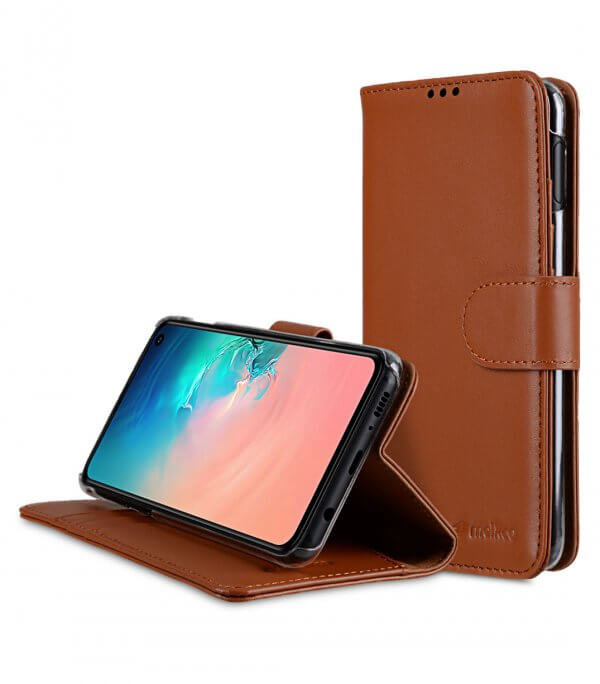 Premium Leather Wallet Book Clear Type Stand Case for Samsung Galaxy S10e