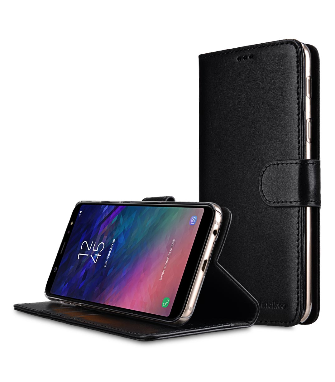 newest d44b2 bc648 Premium Leather Case for Samsung Galaxy A6 Plus (2018) - Wallet Book Clear  Type Stand