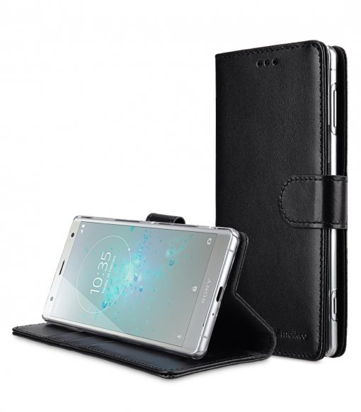 Premium Leather Case for Sony Xperia XZ2 - Wallet Book Clear Type Stand