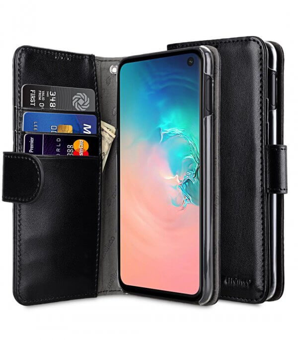 PU Leather Wallet Book Clear Type Case for Samsung Galaxy S10e